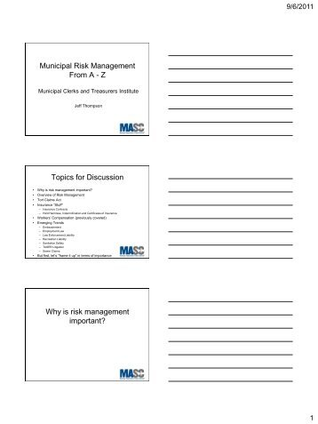 Risk Management from A to Z - Municipal Association of South ...
