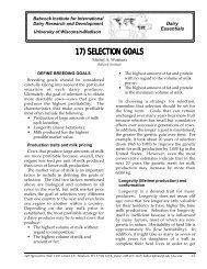 Selection Goals - Babcock Institute - University of Wisconsin–Madison