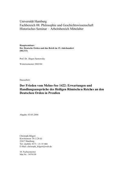 Christoph Hilgert: Der Frieden vom Melnosee - Universität Hamburg