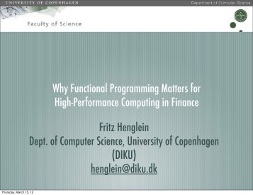 Fritz Henglein Dept. of Computer Science, University of - CFIR