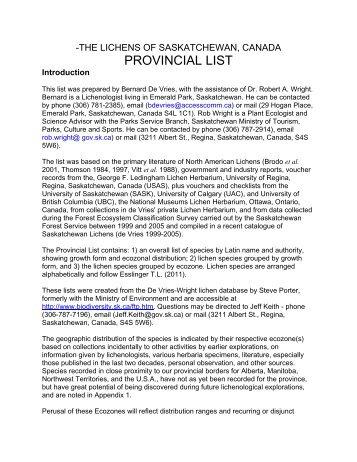 PROVINCIAL LIST - Saskatchewan Conservation Data Centre