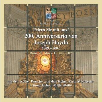 200. Anniversario von Joseph Haydn 200. Anniversario von Joseph ...