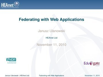 Federating with Web Applications - HEAnet