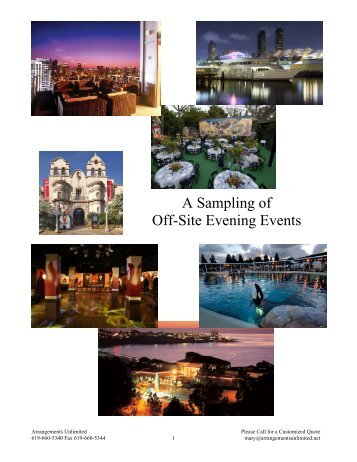 A Sampling of Off-Site Evening Events - Arrangements Unlimited