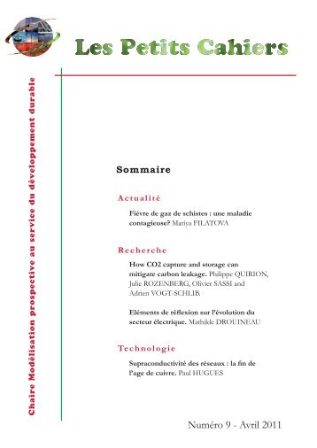 "Numéro 9 - Avril 2011 - Chaire ""Modélisation prospective"
