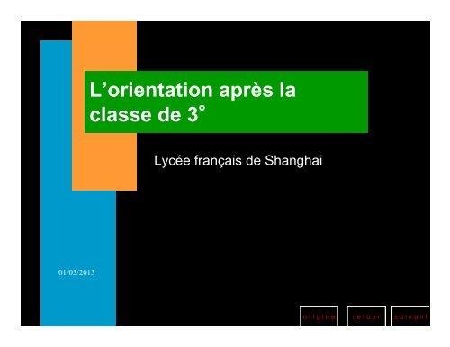 orientation après la 3ème - Lycée français de Shanghai
