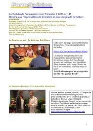 Le Bulletin de Formavision.com Trimestre 2 2013 n° 148 Destiné ...