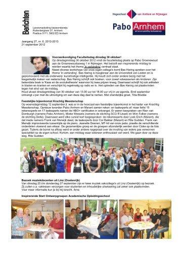 Berichten 21 september 2012 - Hogeschool van Arnhem en Nijmegen