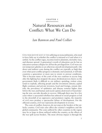 Ian Bannon Natural Resources And Conflict What We Can Do