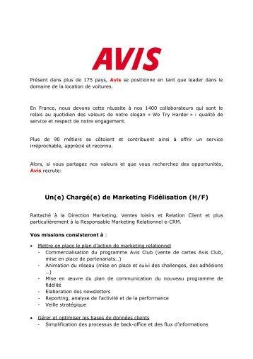 Chargé(e) de marketing fidélisation - Avis