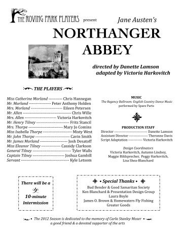 NORTHANGER ABBEY directed%by%Danette%Lamson ...