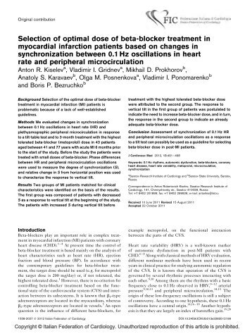 Selection of optimal dose of beta-blocker treatment in myocardial ...