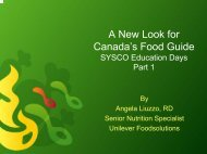A New Look for Canada's Food Guide - Sysco Canada