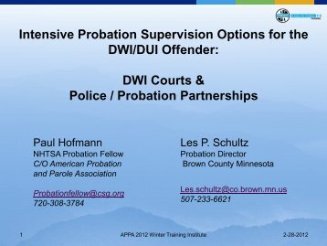 DWI Courts & Police / Probation Partnerships - American Probation ...