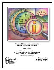 5th Annual Student Research Symposium - The College of Science ...