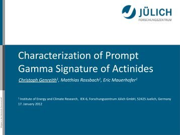 Characterisation of prompt gamma signature of actinides.