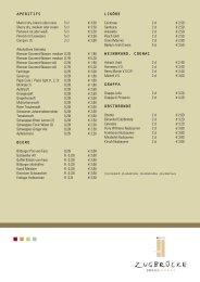 APERITIFS Martini dry, bianco oder rosso 5 cl € 3,50 Sherry dry ...