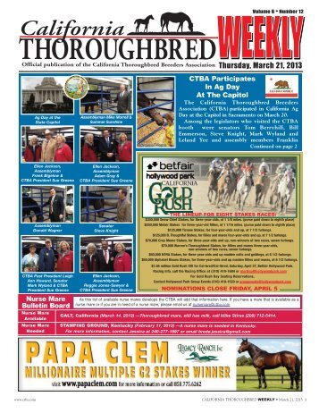 Thursday, March 21, 2013 - California Thoroughbred Breeders ...
