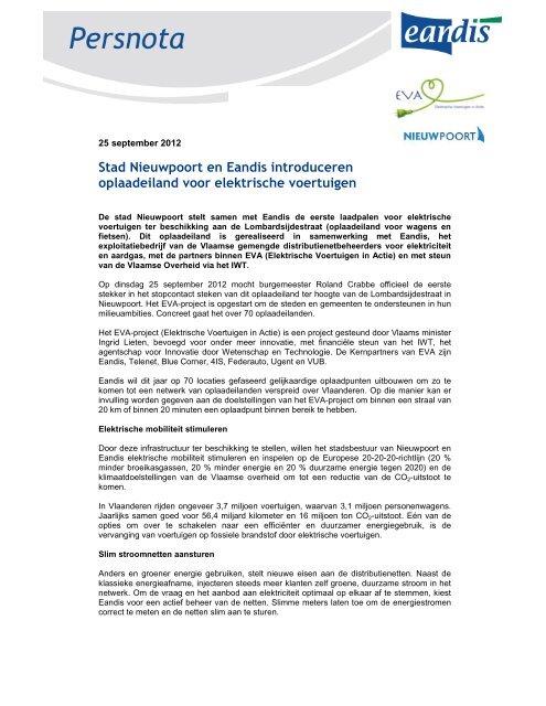 Nieuwpoort en Eandis introduceren oplaadeiland voor elektrische ...