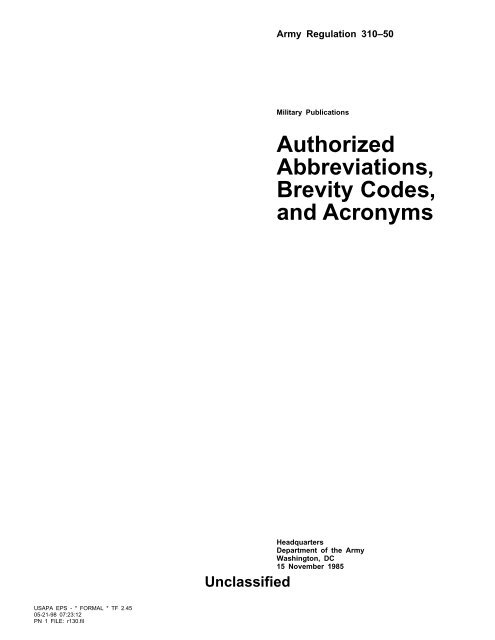 Authorized Abbreviations, Brevity Codes, and Acronyms