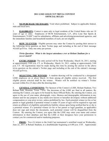 2011 LSSE GOLD CUP TRIVIA CONTEST OFFICIAL RULES 1. NO ...