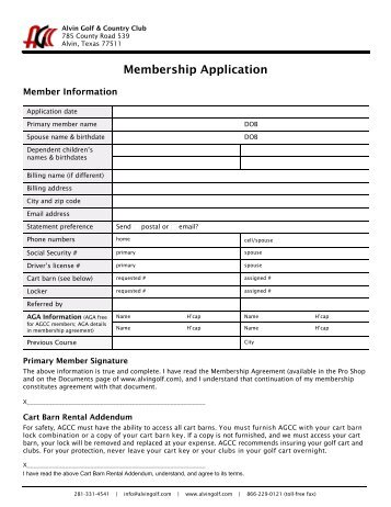 Alvin Golf & Country Club Membership Application