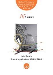 Liste de prix Date d'application 02/06/2008 n° 182 - Nexans