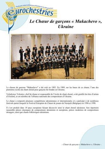 Le Chœur de garçons « Mukachevo », Ukraine - Eurochestries