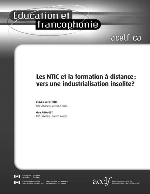 Les NTIC et la formation à distance: vers une industrialisation ... - acelf