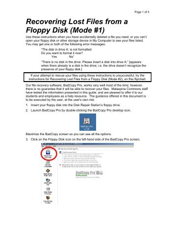 Rescuing Lost Files from a Floppy Disk