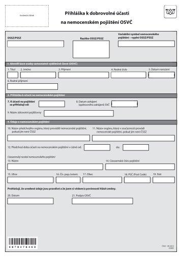 Přihláška k dobrovolné účasti na nemocenském pojištění OSVČ