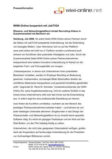 WiWi-Online kooperiert mit JobTV24