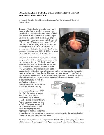 Small-Scale Industry Coal Gasifier Stove - BioEnergy Discussion Lists