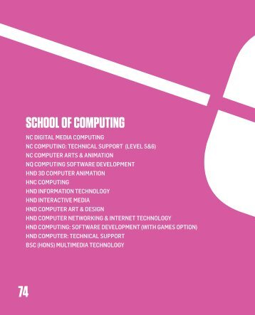 SCHOOL OF COMPUTING - City of Glasgow College