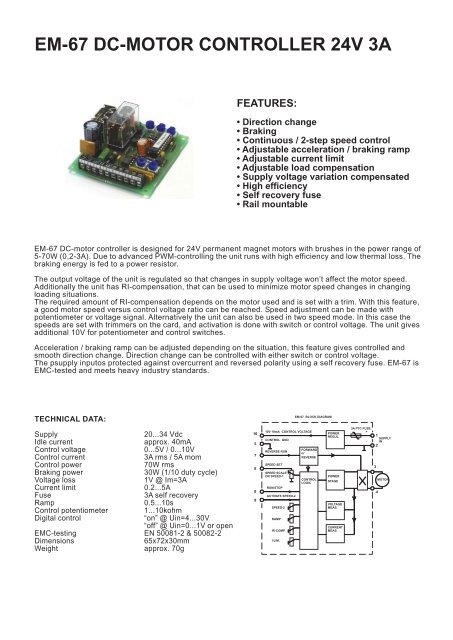 EM-67 DC-MOTOR CONTROLLER 24V 3A - Electromen