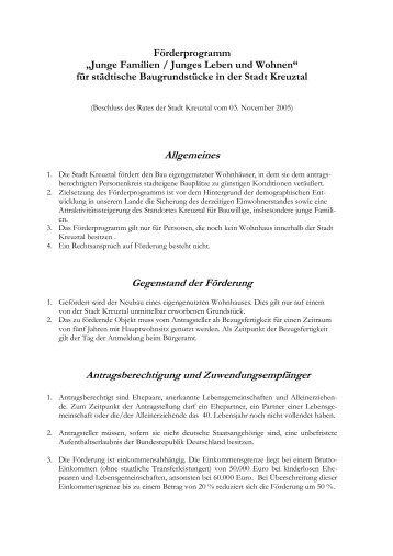 "Förderprogramm ""Junge Familien / Junges Leben und ... - Kreuztal"