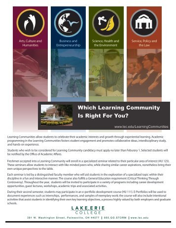 Learning Communities Slip Sheet Information - Lake Erie College