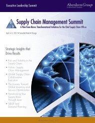 Supply Chain Management Summit - Summit - Aberdeen Group