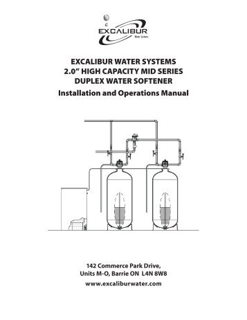 "2.0"" HiGH caPacity mid SEriES duPlEx WatEr SOFtENEr installation"