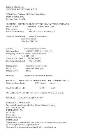 Titebond III Glue Material Safety Data Sheet (MSDS) - Highland ...