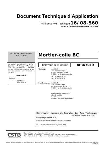 MORTIER COLLE BC_DTA.pdf - Vpi - Vicat