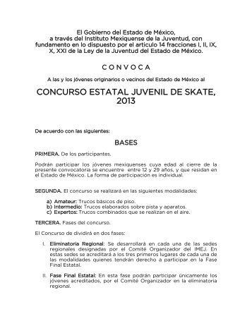 CONCURSO ESTATAL JUVENIL DE SKATE, 2013 - Gobierno del ...