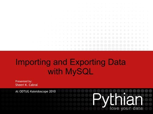 Importing and Exporting Data with MySQL
