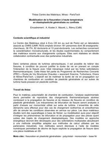 ParisTech Modélisation de la fissuration à haute température en ...