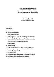 Projektunterricht - Grundlagen und Beispiele - Universität Potsdam
