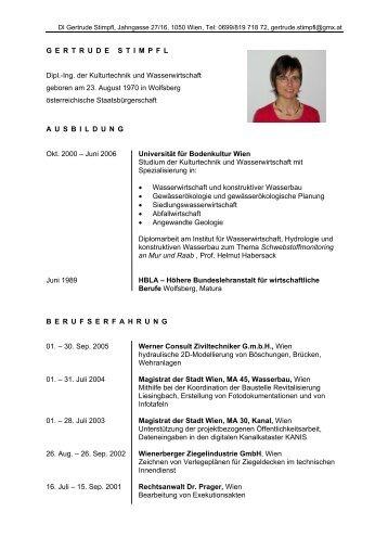G E R T R U D E S T I M P F L Dipl.-Ing. der Kulturtechnik und ...