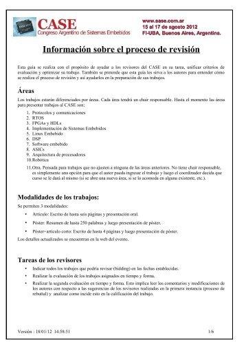 Guía revisión - Simposio Argentino de Sistemas Embebidos (SASE)