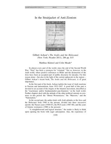 Achcar's The Arabs and the Holocaust - Journal for the Study of ...