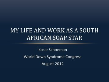 My Life and Work as a South African Soap Star