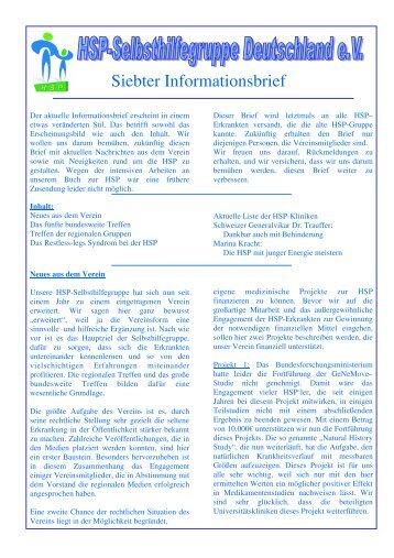 Siebter Informationsbrief - HSP-Selbsthilfegruppe Deutschland EV